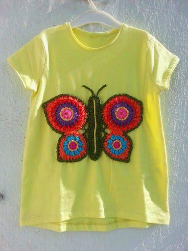 customizar camiseta croche aplicacao borboleta