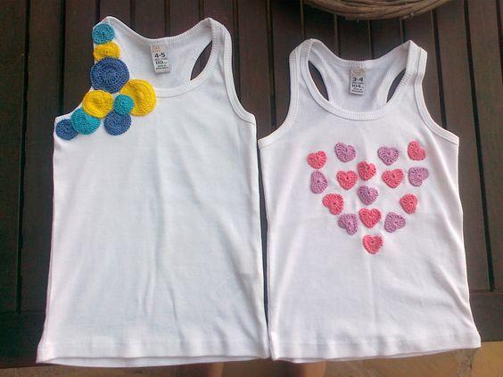 customizar camiseta croche aplicacao coracoes