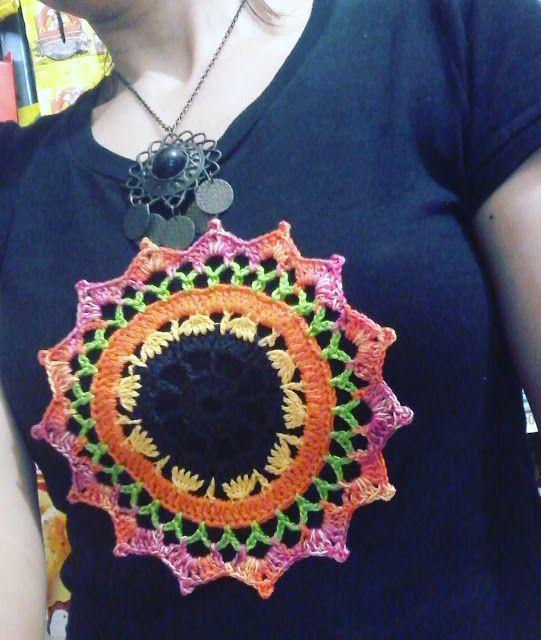 customizar camiseta croche aplicacao mandala