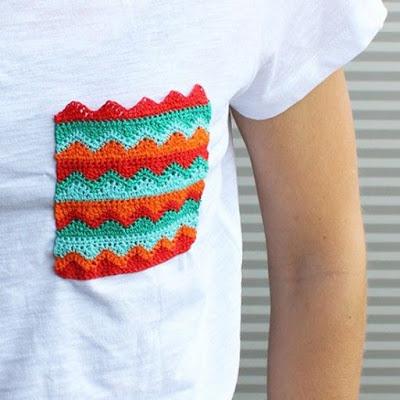 customizar camiseta croche bolso
