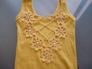 customizar camiseta croche decote