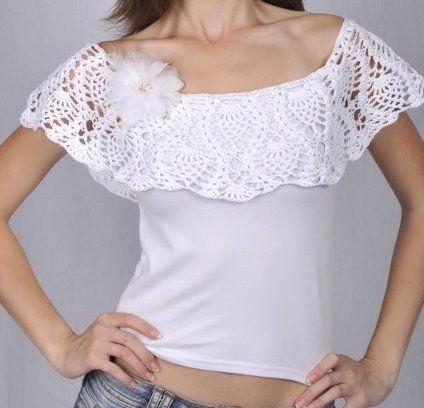 customizar camiseta croche gola