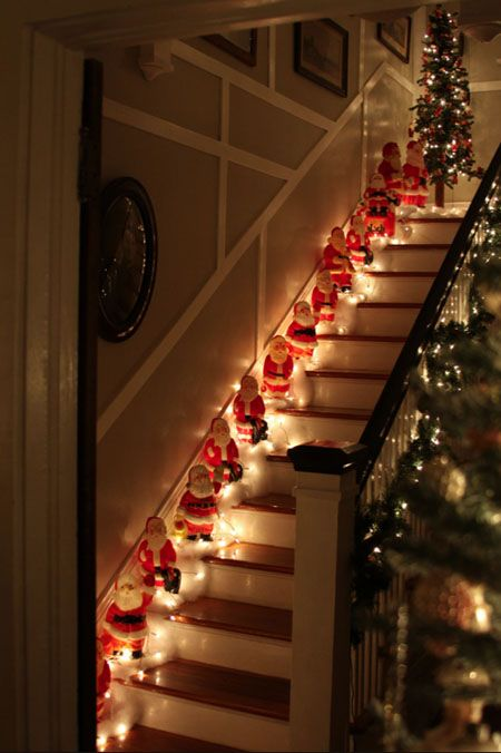 decoração das escdas com luzes natal