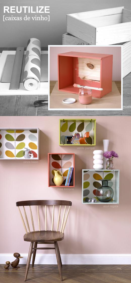 decoraçao com caixas de madeira