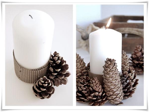 decoraçao com pinhas vela