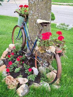 decoraçao de jardim com bicicletas 3