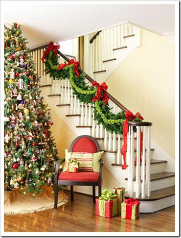 decoraçao escadas para o natal