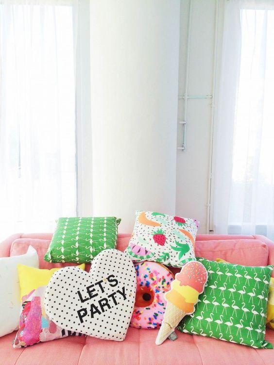 decoraçao festa pijama almofadas