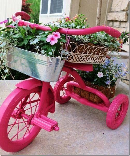 decoraçao original de jardim bicicleta 2