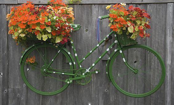 decoraçao original de jardim bicicleta