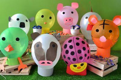 decoracao com baloes dia das criancas enfeites animais