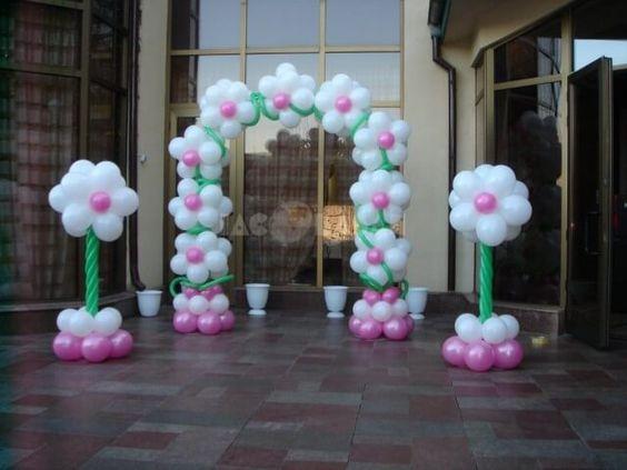 decoracao com baloes dia das criancas flor arco