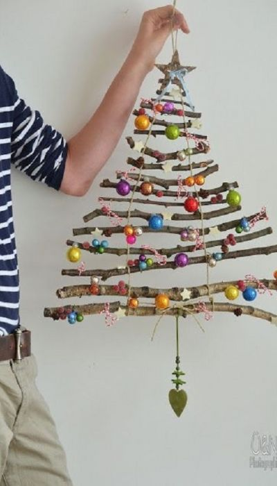 decoracao de natal reciclagem galhos