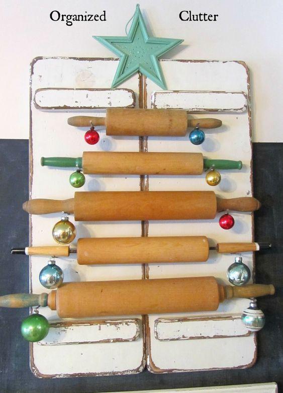 decoracao de natal reciclagem rolos cozinha