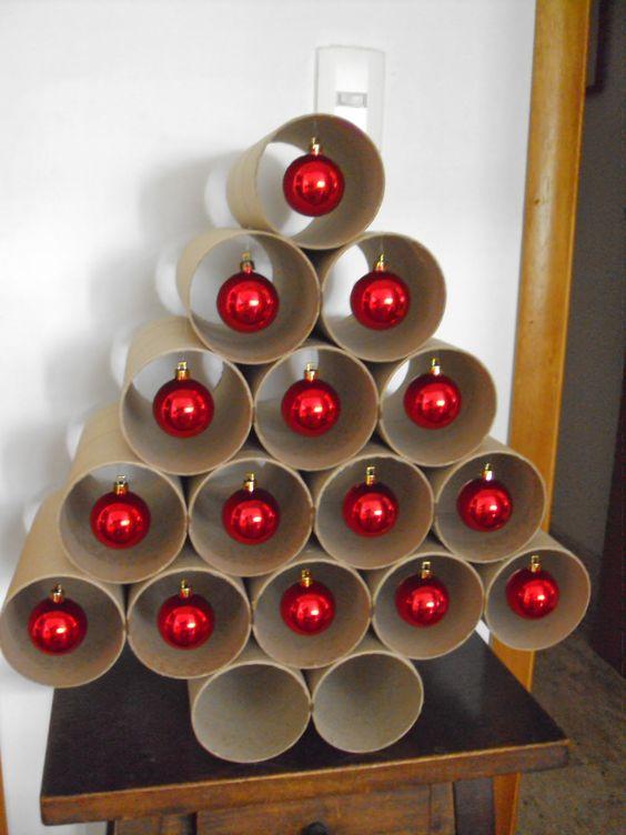 decoracao de natal reciclagem rolos