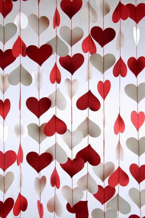 decoracao festa coracao cortina
