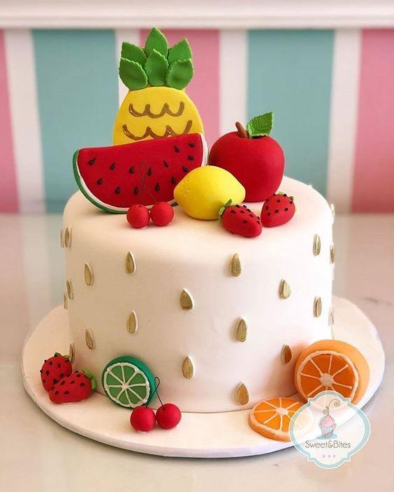 decoracao festa fruta bolo decorado