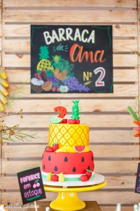 decoracao festa fruta bolo