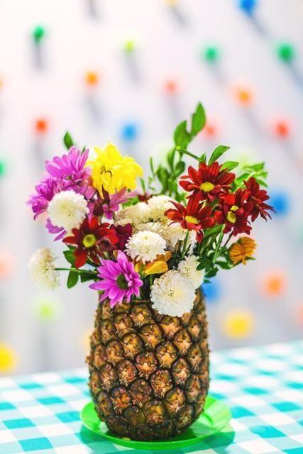 decoracao festa fruta centro mesa