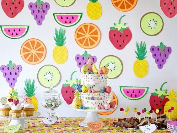 decoracao festa fruta parede destaque