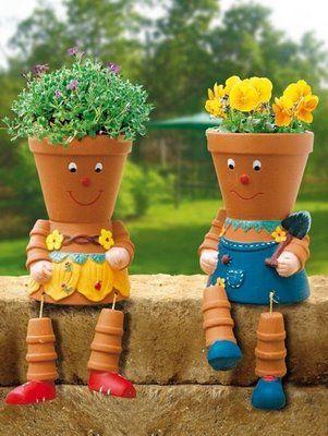 decoracao jardim vasos
