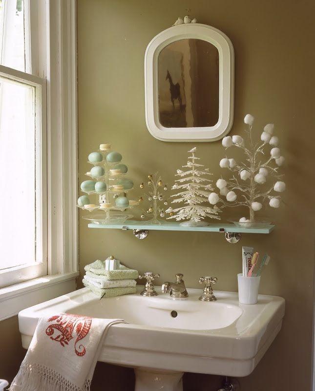decoracao natal banheiro branca
