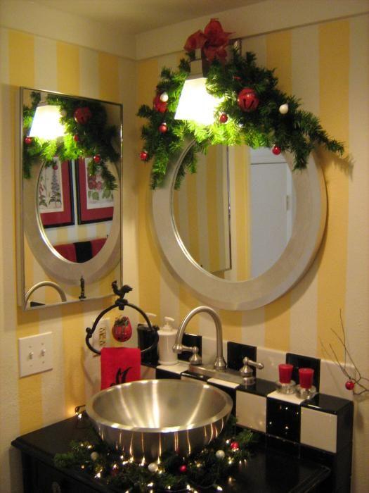 decoracao natal banheiro espelho