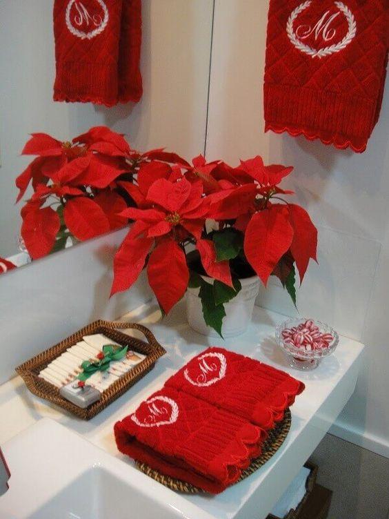 decoracao natal banheiro flor natal