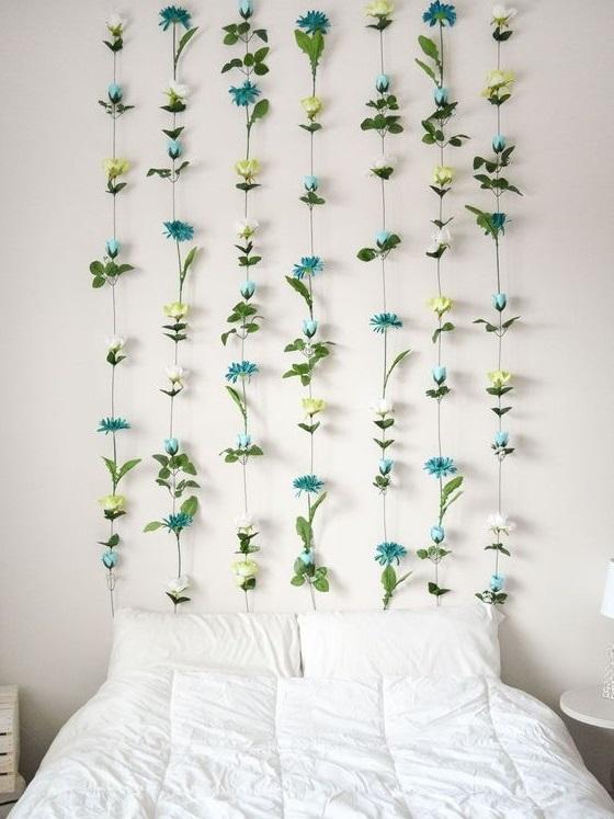 decoracao parede flores cabeceira cama