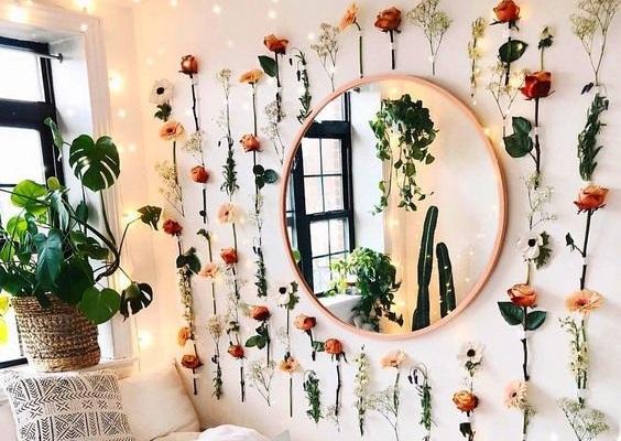 decoracao parede flores espelho