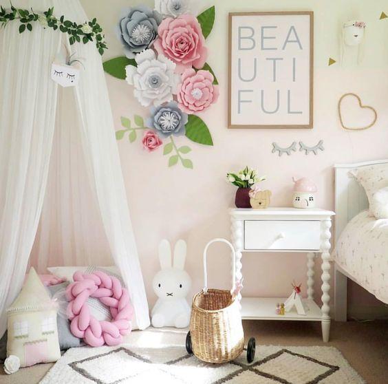 decoracao parede flores papel crianca