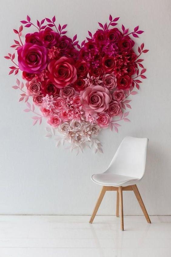decoracao parede flores papel