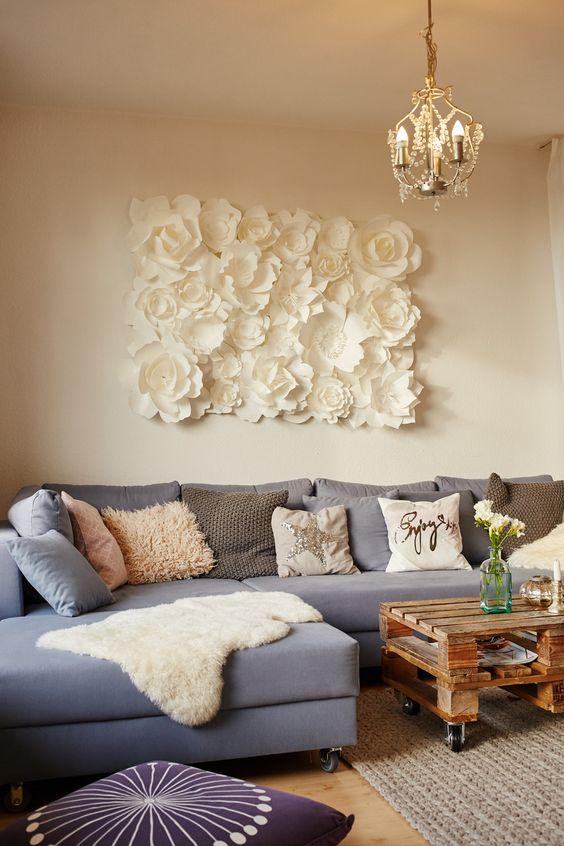 decoracao parede flores quadro