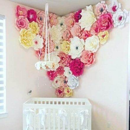 decoracao parede flores quarto crianca