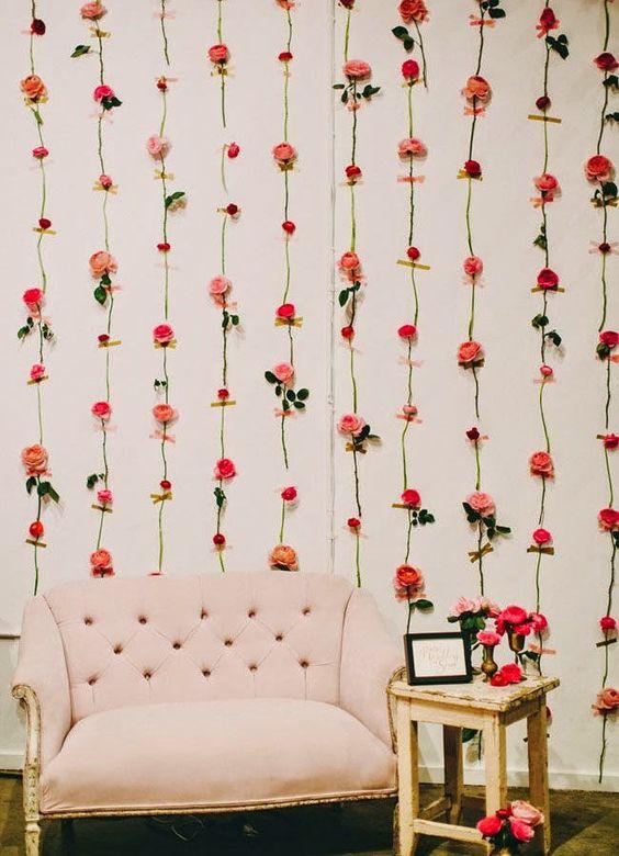 decoracao parede flores sala