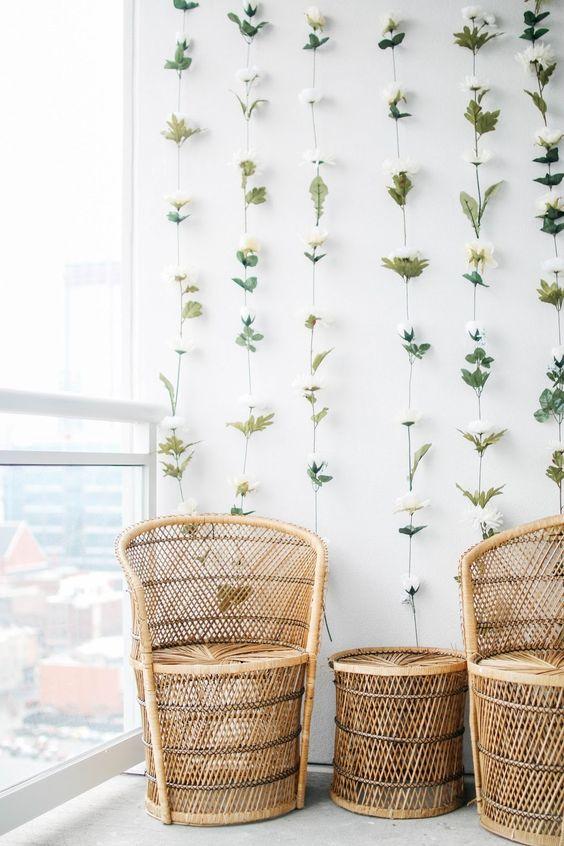 decoracao parede flores varanda