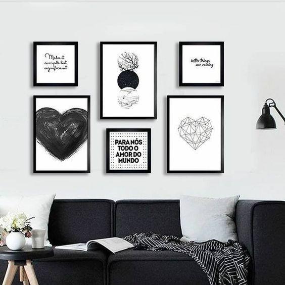 decoracao quadros sala preto