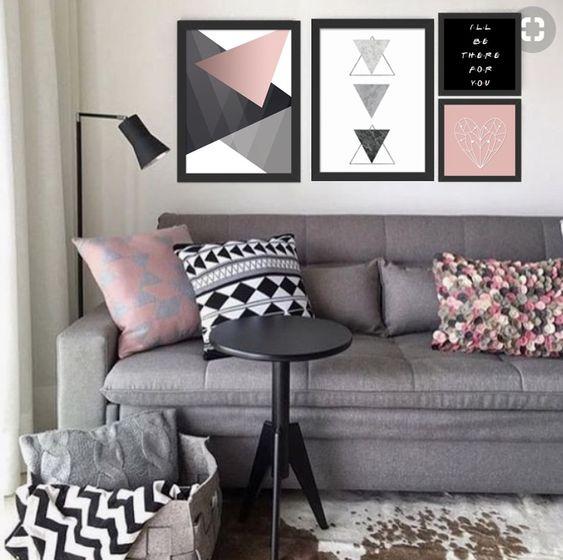 decoracao quadros sala rosa