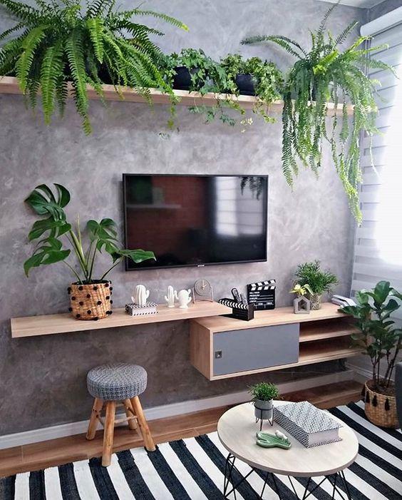 decoracao sala pequena cimento