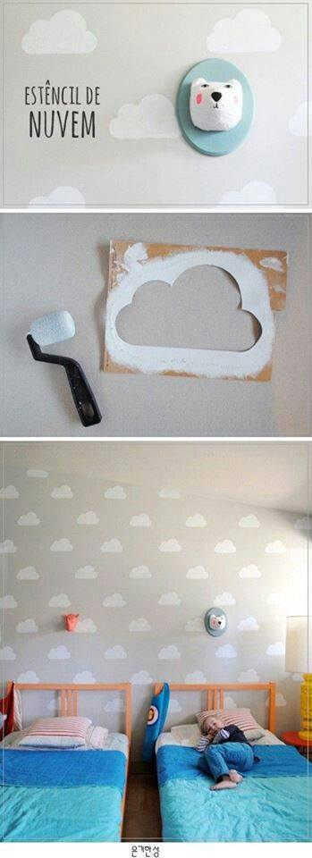 decorar a parede com nuvens