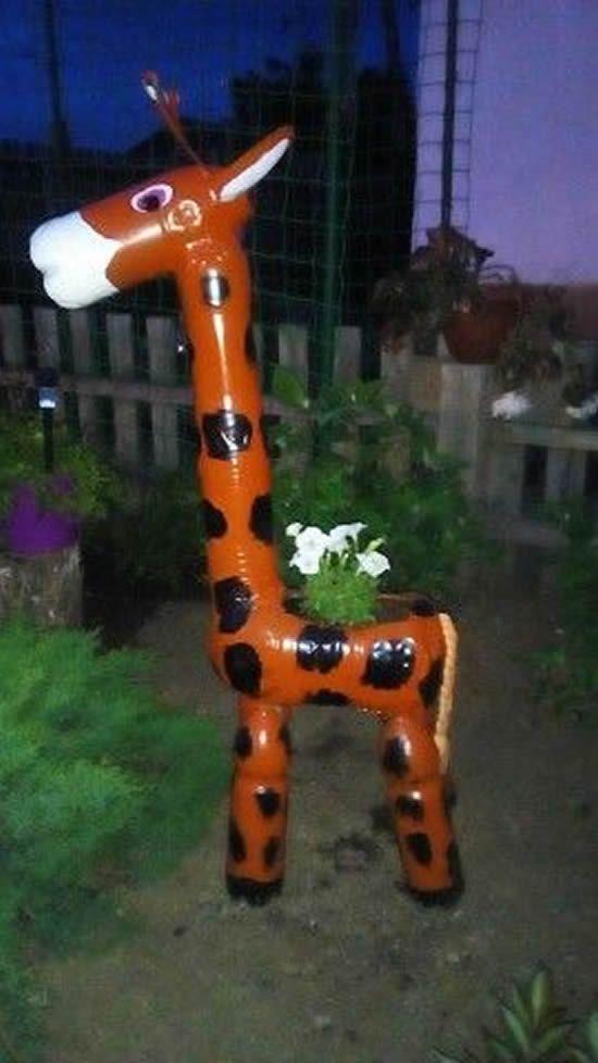 diy animais garrafas plásticas girafa
