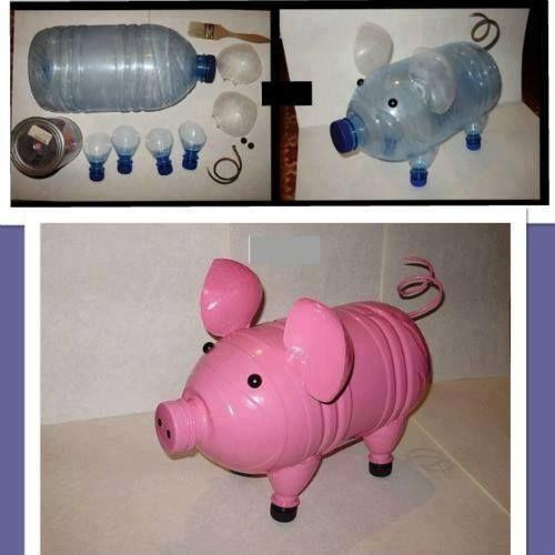 diy animais garrafas plásticas porco