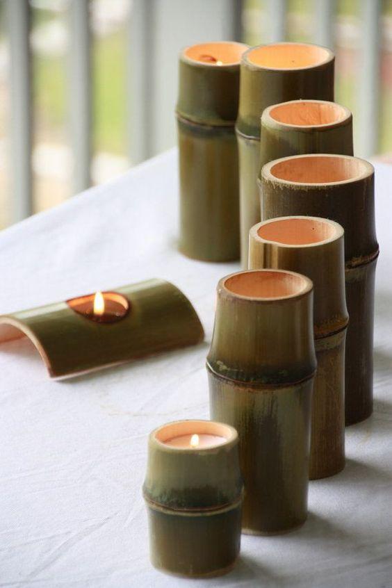 diy artesanato bambu port velas