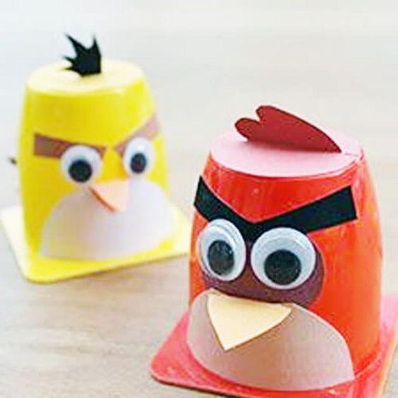 diy brinquedo pote iogurtes angry bird