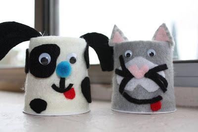 diy brinquedo pote iogurtes animais