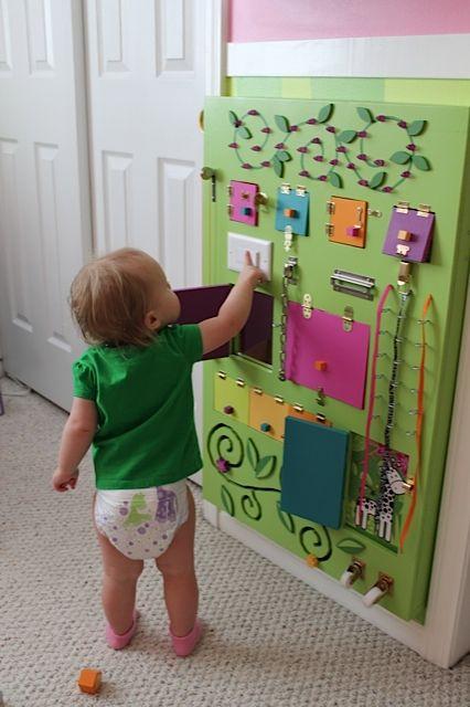 diy brinquedos crianca quadro sensorial