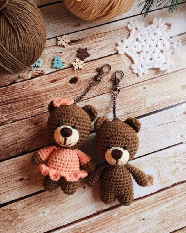 diy chaveirinho natal croche urso