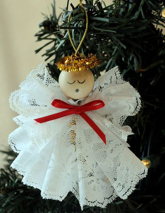 diy decoracao arvore natal anjo renda