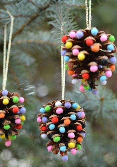 diy decoracao arvore natal pinhas