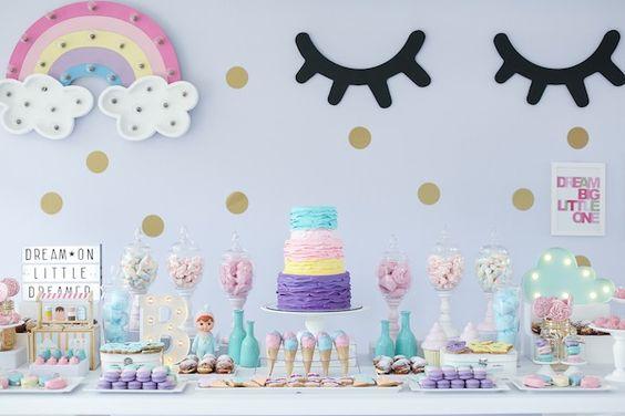 diy decoracao festa unicornio mesa